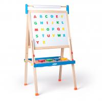 ABC board with letters with a roll of paper and cups