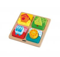 Wooden shape sorting puzzle - house and sun
