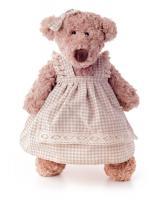 Lumpin teddy bear girl in a dress, medium 43cm