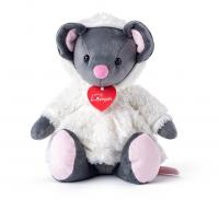 Mouse Azumi grey in a white fur coat